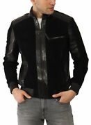 Vogg Menand039s Black Leather And Suede With Python Skin Jacket Id1009