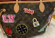 Louis Vuitton Neverfull Mm Shoulder Travel Patches Tote Bag