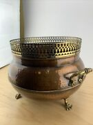 Vintage Claw Footed Solid Hammered Copper And Brass Planter Pot Made In Portugal