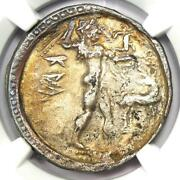Bruttium Caulonia Ar Apollo Silver Stater Coin 400 Bc - Certified Ngc Xf Ef