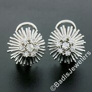 Vintage 18k White Gold .94ct Round Diamond Cluster Spray Wire Work Stud Earrings