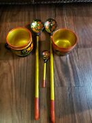 Lot Of 5 Vintage Russian Hand Painted Wooden Spoons And Bowls