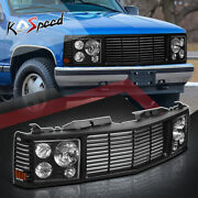 Black Front Grille Composite Headlight Lamps For 94-00 Chevy Gmc C/k Yukon Tahoe