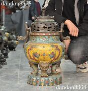 Old Chinese Palace Copper Cloisonne Double Dragon Handle Incense Burner Censer