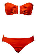 Eres Swimsuit Les Essentiels Show Bandeau Bikini Top And Bottom Set Red Solid Fr38