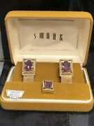 Vintage Nos Swank Amethyst Gold Tone Wrap Around Cuff Links And Tie Tack Tac