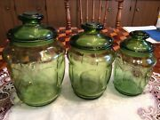 Vintage Green Depression Glass Apothercary Jar Canisters Sealed Lids