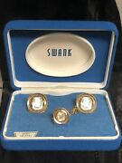 Vintage Nos Swank Crystal April Gold Tone Cuff Links And Tie Tack Tac