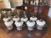 Gg Collection Q=8 Cream Ceramic Bowls W/lids With Detailed Ornate Acanthus Leaf