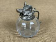 Valentin Rare Vintage Silver Plated Boars Head Glass Pitcher Made In Spain