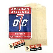 American Airlines Vintage Dc-7 Foil Baggage Label And Air Mail Stickers Lot