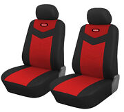 Two Front Car Seat Covers Bk/red Leatherette 4 Pc Sets For Universal C15703