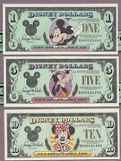 Disney Dollar 1991 A 1-5-10 Rare Matched Serial Number Set Pcgs Ppq