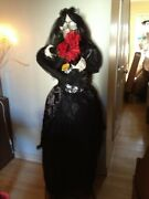 Animated Talking Skeleton Bride Black Gown Red Eyes Light Jaws Move Haunted Prop