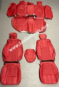 2018-2021 Honda Accord Custom Leather Seat Covers Red With Diamond Stitching