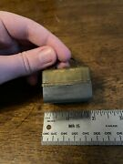 Stunning Traveling Inkwell Miniature Brass Suitcase Satchel Antique 2 W/ Glass