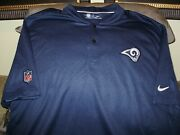 Nfl Los Angeles Rams Nike Dri Fit Elite Coaches Blade Polo Golf Shirt Mens Large