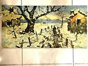 Gorgeous Antique Oil On Canvas Huge Painting Winter Signed