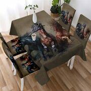 Sand Horse Wild Animal Rectangle Tablecloth Chair Covers Dining Table Set