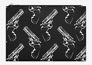 Saint Laurent Ysl Gun Pop Print Zipped Clutch Bag Pouch In Black And White Leather