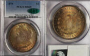 1879 1 Ms65 Pcgs/cac-only 423 Finer-nice Toning Morgan Dollar