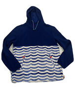Chubbies Pullover Hooded Fleece Jacket Mens Size Large Zip Pocket Bungee Blue