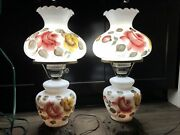 Pair Of Accurate Cast Double Globe Hurricane Parlor 3 Way Switch Table Lamp 21andrdquo
