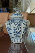 Chinese Yuan B/w Flowers Porcelain Jar Covered