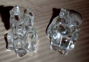 Pair Of Lenox Fine Lead Crystal Clear Elephant Trunk Up Figurines