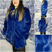 Handmade Blue Mink Fur Jacket Made In Italy Haute Couture Mink Coat