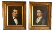 Antique Oil Paintings-pair Of 19th Century Portraits-signed Heubner