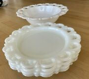Anchor Hocking White Milk Glass Old Colony Lace - Serving Bowl And 4 Salad Plates