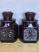 """Pair Wheaton Nj Ruby Red Glass Apothecary Canister Jar W/lids 8"""" -pretty"""