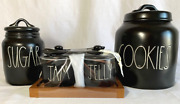 Rae Dunn Black Ceramic Cookies-sugar And Jam And Jelly W Spoons Canisters