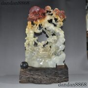 A Chinese Natural Shoushan Stone Hand Carved Pine Trees Boy Wealth Manmon Statue