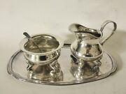 Floreat Alpaka Silver Plated Footed Sugar Bowl And Creamer Set With Spoon And Tray