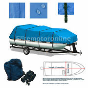 Premium Canvas Pontoon Trailerable Boat Storage Cover Fits 17and039 -20and039 L