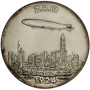Germany Graf Von Zeppelin 1963 Silver Medal / Arrival Of Lz-126 In America And Nyc