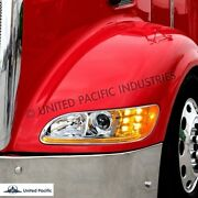 Peterbilt 386/387 Projection Headlight With Chrome Trim Driver And Passenger New