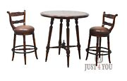 Theodore Alexander Leather Bar Pub Set Table Two Swivel Chairs
