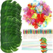 148 Pieces Luau Themed Party Decorations 24 Pieces Tropical Palm Leaves 24 Pi
