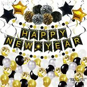 Huge New Years Eve Party Supplies 2021 Kit - Happy New Year Banner Sign And Gold