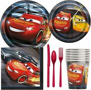 Disney Cars 3 Birthday Party Supplies Pack Including Cake And Lunch Plates, Cutler