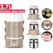 220v 2.7l Electric Lunch Box Heat Food Storage Warmer Container Steamer 4 Layer