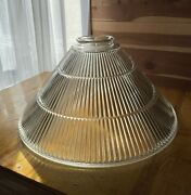Antique Art Deco Industrial Clear Ribbed Large Heavy Glass Lampshade