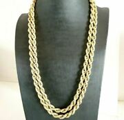 Vintage Necklace Long Jersey Torchon Made In Italy Yearsand039 70 In Gold Solid 9k