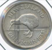 New Zealand 1933 Florin George V Silver - Extra Fine