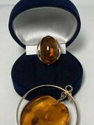 Vintage Soviet Russian Original Womenand039s Set 583 Gold Ring And Pendat Amber Ussr