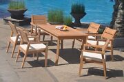 A-grade Teak 7pc Dining 60 Rectangle Table 6 Vellore Stacking Arm Chair Set