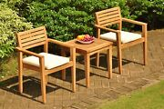 3pc Dining Setgrade-a Teak Sack Side Table Montana Stacking Arm Chairs Patio